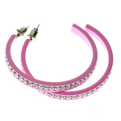 Pink & Clear Colored Metal Crystal-Hoop-Earrings With Crystal Accents #352
