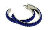 Silver-Tone & Blue Colored Metal Crystal-Hoop-Earrings With Crystal Accents #353