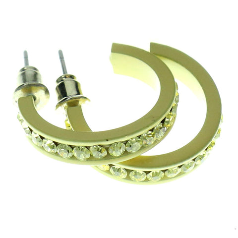 Yellow Metal Crystal-Hoop-Earrings With Crystal Accents #354