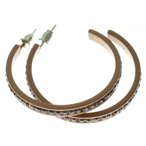 Brown Metal Crystal-Hoop-Earrings With Crystal Accents #356
