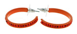 Orange Metal Crystal-Hoop-Earrings With Crystal Accents #357