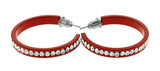 Red & Clear Colored Metal Crystal-Hoop-Earrings With Crystal Accents #359