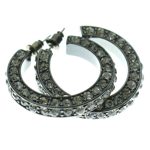 Gray & Clear Colored Metal Crystal-Hoop-Earrings With Crystal Accents #362