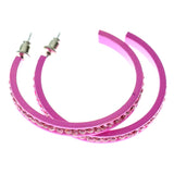 Pink Metal Crystal-Hoop-Earrings With Crystal Accents #363