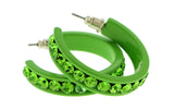 Green Metal Crystal-Hoop-Earrings With Crystal Accents #366