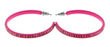 Pink Metal Crystal-Hoop-Earrings With Crystal Accents #368