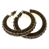 Bronze-Tone & Brown Colored Metal Crystal-Hoop-Earrings With Crystal Accents #373