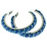 Silver-Tone & Blue Colored Metal Crystal-Hoop-Earrings With Crystal Accents #379