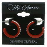 Red & Clear Colored Metal Crystal-Hoop-Earrings With Crystal Accents #383