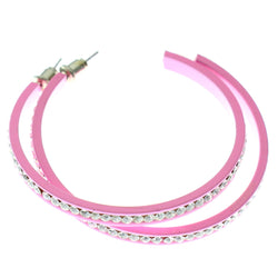 Pink & Clear Colored Metal Crystal-Hoop-Earrings With Crystal Accents #392