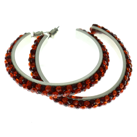 Silver-Tone & Red Colored Metal Crystal-Hoop-Earrings With Crystal Accents #397