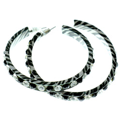 White & Black Colored Metal Crystal-Hoop-Earrings With Crystal Accents #401