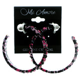 Black & Pink Colored Metal Crystal-Hoop-Earrings With Crystal Accents #404