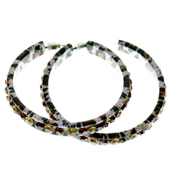 White & Multi Colored Metal Crystal-Hoop-Earrings With Crystal Accents #410