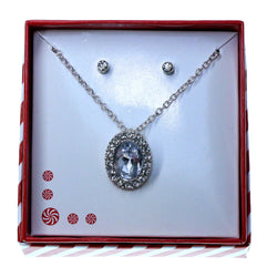Oval pendant Necklace-Earrings With Crystal Accents  Silver-Tone Color #3718