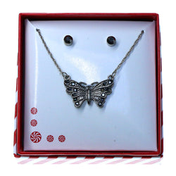 Butterfly pendant Necklace-Earrings With Crystal Accents Silver-Tone & Gray Colored #3717