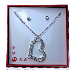 Heart pendant Necklace-Earrings With Crystal Accents  Silver-Tone Color #3714