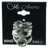 Silver-Tone & Blue Colored Metal Multiple-Rings With Crystal Accents #3604