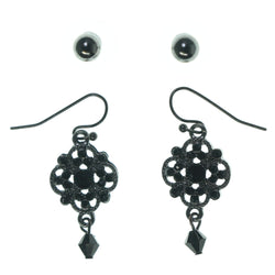 Silver-Tone & Black Colored Metal Multiple-Earrings With Bead Accents #3633