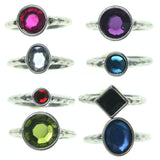 Silver-Tone & Multi Colored Metal Multiple-Rings With Crystal Accents #3631