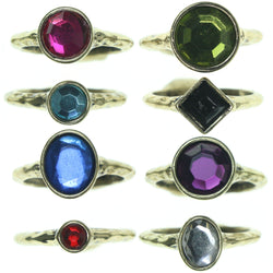 Gold-Tone & Multi Colored Metal Multiple-Rings With Crystal Accents #3603