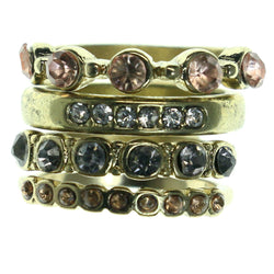 Gold-Tone & Multi Colored Metal Multiple-Rings With Crystal Accents #3591