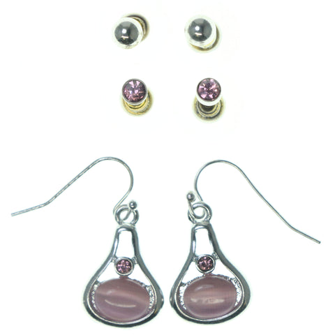 Silver-Tone & Pink Colored Metal Multiple-Earrings With Bead Accents #3620