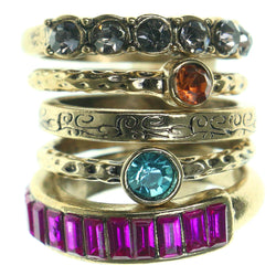Gold-Tone & Multi Colored Metal Multiple-Rings With Crystal Accents #3581