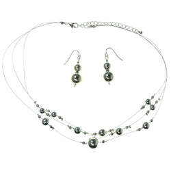 Adjustable Length Necklace-Earrings With Bead Accents  Silver-Tone Color #3578