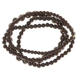 Brown Acrylic Multiple-Stretch-Bracelets With Bead Accents #3601