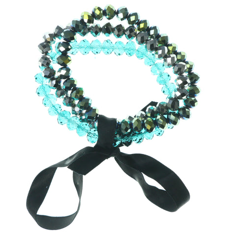 Stretch Bow Bracelet With Bead Accents Green & Black Colored #3590