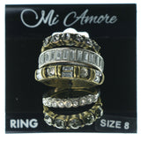 Antique Multiple-Rings With Crystal Accents Silver-Tone & Gold-Tone Colored #3635