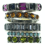 Silver-Tone & Multi Colored Metal Multiple-Rings With Crystal Accents #3636