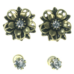 Flower Multiple-Earrings With Crystal Accents  Gold-Tone Color #3576