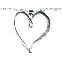 Adjustable Length Heart Pendant-Necklace Silver-Tone Color  #3570