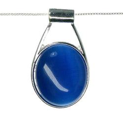 Adjustable Length Pendant-Necklace With Faceted Accents Silver-Tone & Blue Colored #3588