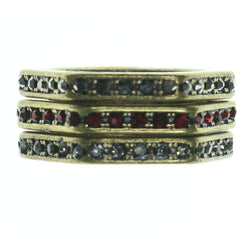 Gold-Tone & Red Colored Metal Multiple-Rings With Crystal Accents #3624