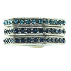 Silver-Tone & Blue Colored Metal Multiple-Rings With Crystal Accents #3634