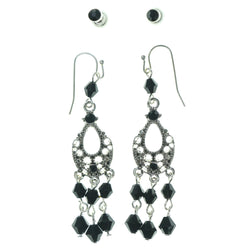 Black & Silver-Tone Colored Metal Multiple-Earrings With Bead Accents #3599