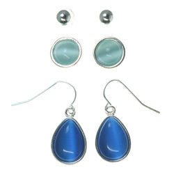 Blue & Silver-Tone Colored Metal Multiple-Earrings With Bead Accents #3600
