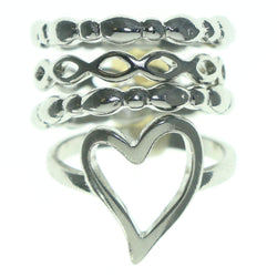 Heart Multiple-Rings Silver-Tone Color  #3628