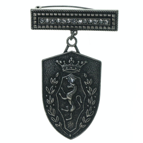 Crown Horse Crest Pin With Crystal Accents Silver-Tone Color #3646