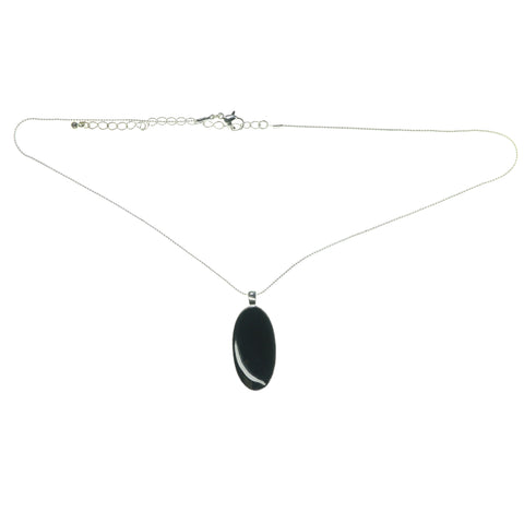 Adjustable Length Fashion-Necklace With Faceted Accents Silver-Tone & Black Colored #3614