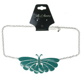Green & Silver-Tone Colored Metal Statement-Necklace #3615