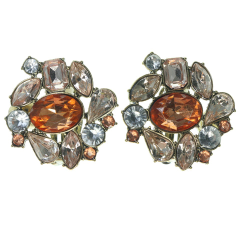 Gold-Tone & Peach Colored Metal Clip-On-Earring With Crystal Accents #3596