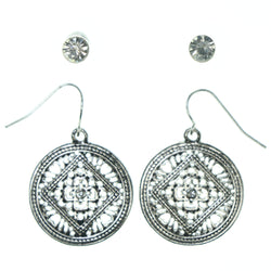 Silver-Tone Metal Multiple-Earrings With Crystal Accents #3618