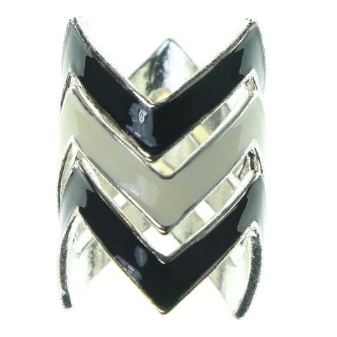 Black & White Colored Metal Multiple-Rings #3623