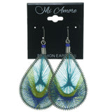 Silver-Tone & Multi Colored Metal Earrings #3608