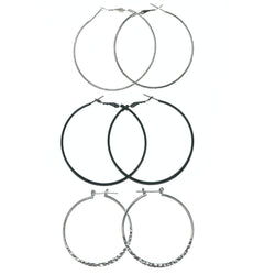 Hoop Multiple-Earrings Silver-Tone & Black Colored #3629