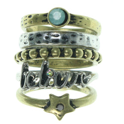 Believe Star Multiple-Rings With Bead Accents Gold-Tone & Silver-Tone Colored #3625